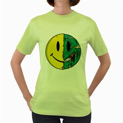 Smiley Two Face Womens  T Shirt (green) by Contest1714880