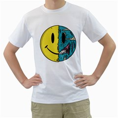 Smiley Two Face Mens  T Shirt (white) by Contest1714880