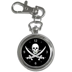 Watch, White & Black Background Jolly Roger Key Chain Watch by GiftRocket
