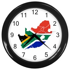 South Africa Flag Map Wall Clock (black)