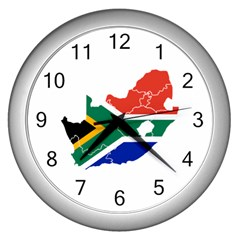 South Africa Flag Map Wall Clock (silver) by gekodesign