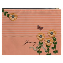 Cosmetic Bag (xxxl)   Stripes And Orange By Jennyl   Cosmetic Bag (xxxl)   897l3ku8wlk9   Www Artscow Com Back