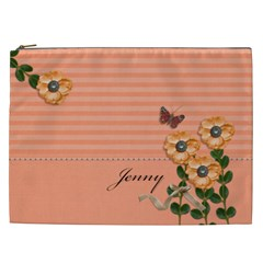 Cosmetic Bag (xxl)   Stripes And Orange By Jennyl   Cosmetic Bag (xxl)   Vd1tp83cpcvv   Www Artscow Com Front