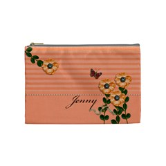 Cosmetic Bag (m)   Stripes And Orange By Jennyl   Cosmetic Bag (medium)   It5zqxg6ojmv   Www Artscow Com Front