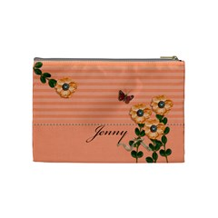 Cosmetic Bag (m)   Stripes And Orange By Jennyl   Cosmetic Bag (medium)   It5zqxg6ojmv   Www Artscow Com Back