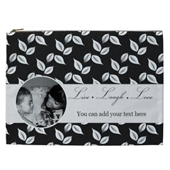 Cosmetic Bag (xxl)   B/w  Live Laugh Love By Jennyl   Cosmetic Bag (xxl)   Revgc44h3eta   Www Artscow Com Front