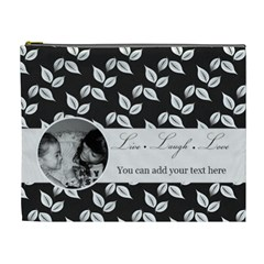 Cosmetic Bag (xl)   B/w   Live Laugh Love By Jennyl   Cosmetic Bag (xl)   Rn4saq86k1a2   Www Artscow Com Front