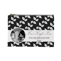 Cosmetic Bag (l)   B/w  Live Laugh Love By Jennyl   Cosmetic Bag (large)   4lbw01iyfunz   Www Artscow Com Front