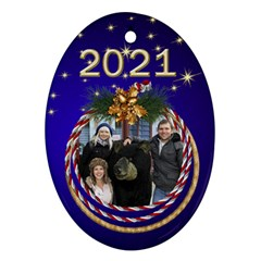 My Oval Christmas Ornament (2 Sided) By Deborah   Oval Ornament (two Sides)   Zt1xgtmmicw1   Www Artscow Com Front