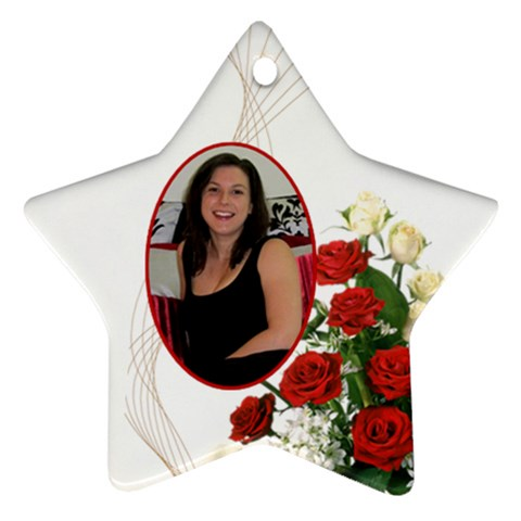 Christmas Rose Star Ornament By Deborah   Ornament (star)   Q3vw4qwaamb5   Www Artscow Com Front