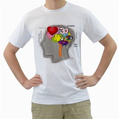 Men s Brain, Uncovered Mens  T Shirt (white) by Contest1717460