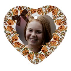 Floral Christmas Heart Ornament (2 Sided) By Deborah   Heart Ornament (two Sides)   1lqx8e6qijy0   Www Artscow Com Front