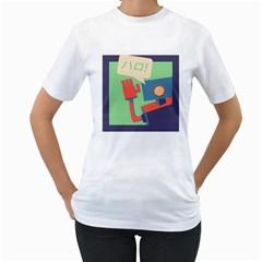 Hello! Womens  T Shirt (white)
