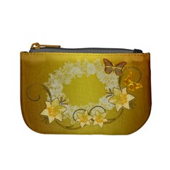 Gold Floral Butterfly Wedding Coin Purse By Ellan   Mini Coin Purse   Q32240mvl6n5   Www Artscow Com Front