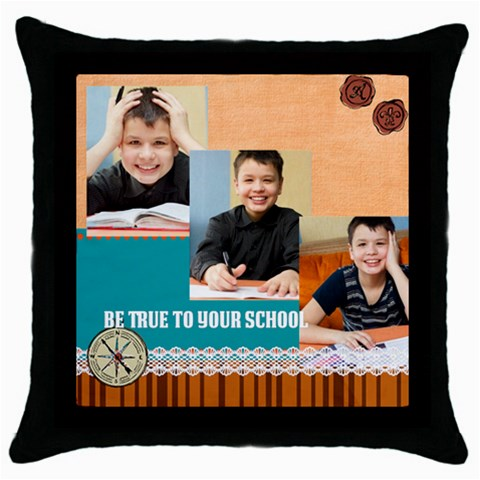 Graduation, School Life By School   Throw Pillow Case (black)   Lt2iegfqbkda   Www Artscow Com Front