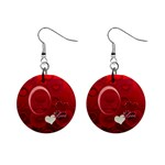 I Heart You red button earrings - 1  Button Earrings