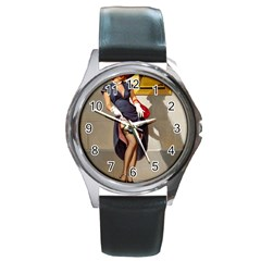 Retro Pin Up Girl Round Metal Watch (silver Rim) by PinUpGallery