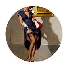 Retro Pin-up Girl Round Ornament