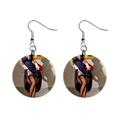Retro Pin Up Girl Mini Button Earrings by PinUpGallery