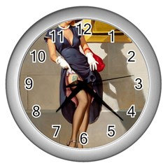 Retro Pin Up Girl Wall Clock (silver) by PinUpGallery
