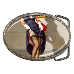 Retro Pin Up Girl Belt Buckle (oval) by PinUpGallery