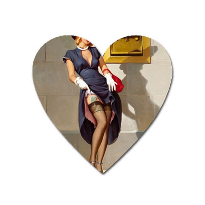 Retro Pin-up Girl Magnet (Heart)