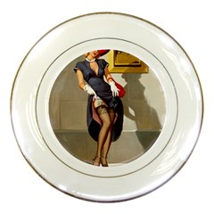 Retro Pin Up Girl Porcelain Display Plate by PinUpGallery