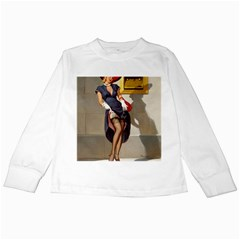Retro Pin Up Girl Kids Long Sleeve T Shirt by PinUpGallery