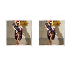 Retro Pin Up Girl Cufflinks (square) by PinUpGallery