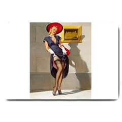 Retro Pin Up Girl Large Door Mat