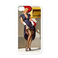 Retro Pin Up Girl Apple Iphone 4 Case (white) by PinUpGallery