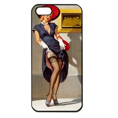 Retro Pin Up Girl Apple Iphone 5 Seamless Case (black) by PinUpGallery