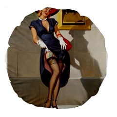 Retro Pin Up Girl 18  Premium Round Cushion
