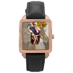 Retro Pin Up Girl Rose Gold Leather Watch  by PinUpGallery