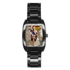 Retro Pin Up Girl Men s Stainless Steel Barrel Analog Watch by PinUpGallery
