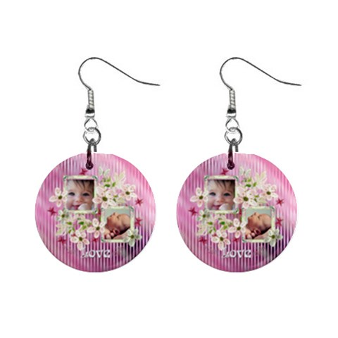 Pink Love Baby Floral Button Earrings By Ellan   1  Button Earrings   Mgueun8uidib   Www Artscow Com Front