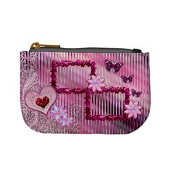 Pink Heart Floral Frame  Coin Purse By Ellan   Mini Coin Purse   W56cokjszlms   Www Artscow Com Front