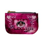 Hot Pink heart floral coin purse - Mini Coin Purse