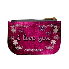 Hot Pink Heart Floral 2nd Coin Purse By Ellan   Mini Coin Purse   Qj46rf5j2dml   Www Artscow Com Back