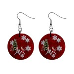 Children riding reindeer  button earrings - 1  Button Earrings