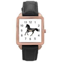 Running Horse Rose Gold Leather Watch  by mysticalimages