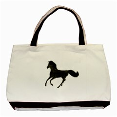 Running Horse Twin Sided Black Tote Bag by mysticalimages