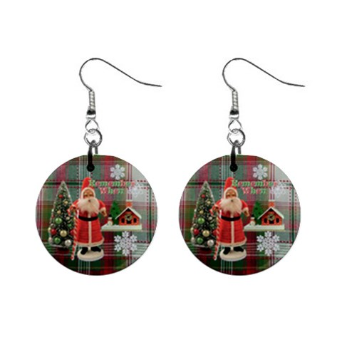 Remember When Santa Christmas No Frame Left Button Earrings By Ellan   1  Button Earrings   F56kviy00mya   Www Artscow Com Front