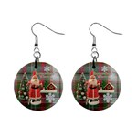 Remember When Santa Christmas no frame left button earrings - 1  Button Earrings
