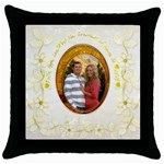 Faith Hope Love gold floral throw pillow - Throw Pillow Case (Black)