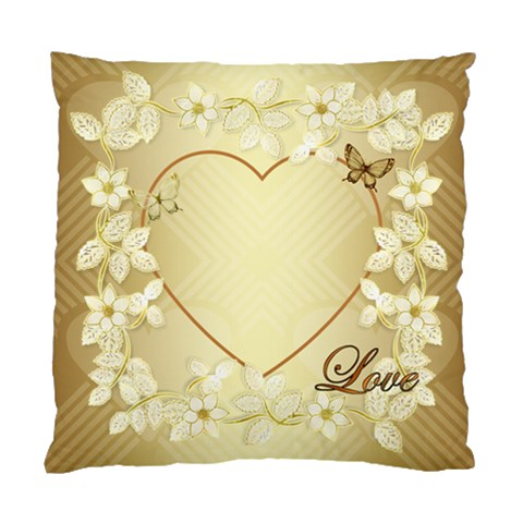Gold Floral Heart Cushion Case One Side By Ellan   Standard Cushion Case (one Side)   0njjwhfaaes2   Www Artscow Com Front
