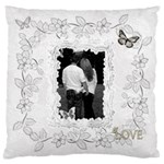 Black White Large Cushion Case - Large Cushion Case (One Side)