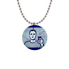 Snapshot Blue Button Necklace by JacklyneMae