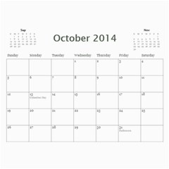 Year Calendar By C1   Wall Calendar 11  X 8 5  (12 Months)   Hohxb91pb0ks   Www Artscow Com Oct 2014