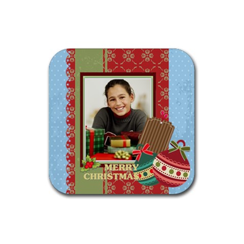Christmas By Merry Christmas   Rubber Square Coaster (4 Pack)   1lt4u0c0lmns   Www Artscow Com Front